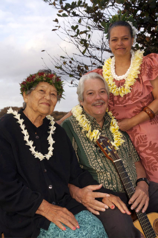 Auntie Nona Beamer, her son Keola, and his wife, Moanalani