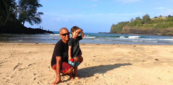 Father and son in Kalihiwai