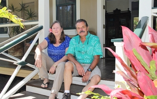 Chris Faye and Mike Faye are seen here in front of the house that once belonged to their ancestor and founder of the Kekaha Sugar Co., Hans Peter Faye.