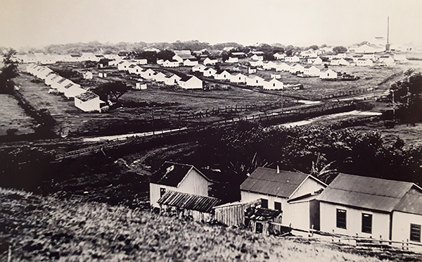 Workers' housing at Kōloa Plantation, likely in the late 1800s. Photo by State Archives