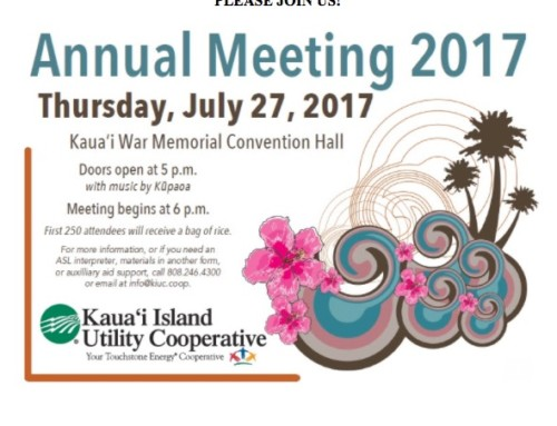 KIUC To Hold 15th Annual Meeting on July 27