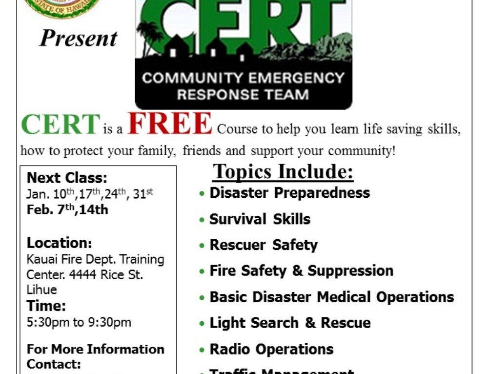 CERT Announces Upcoming Classes in Līhu'e