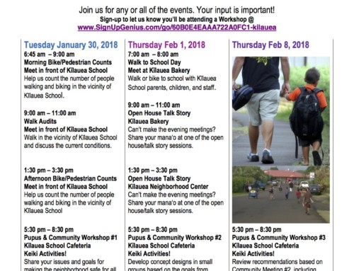 Community Invited to Kīlauea Safe Routes to School Workshops
