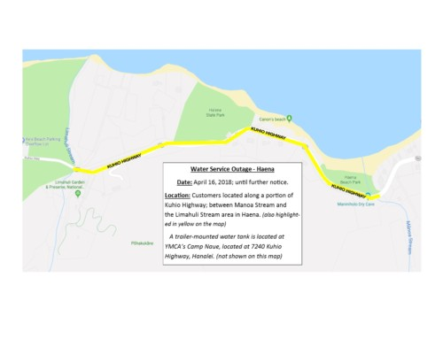 Do Not Drink Advisory Lifted for Wainiha and Haena Residents, Water Service Outages Announced